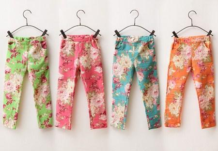 กางเกงขายาวลายดอกวินเทจ คละสี (6 ตัว/pack)