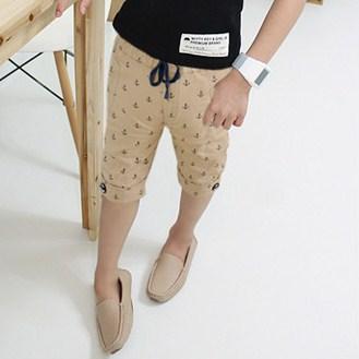 กางเกงขาสามส่วนลายสมอเรือ สีกากี (5 ตัว/pack)
