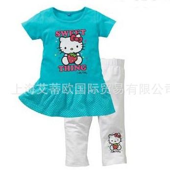 ชุดเดรสกางเกง Kitty Sweet สีฟ้า (5 ตัว/pack)