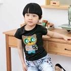 เสื้อแขนสั้นนกฮูก-สีดำ-(5size/pack)