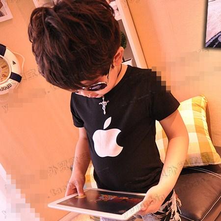 เสื้อแขนสั้น Apple สีดำ (5ตัว/pack)