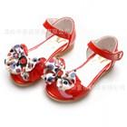 รองเท้าคุณหนูโบว์ดอกไม้-สีส้ม-(5คู่/แพ็ค)