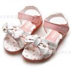 รองเท้าคุณหนูโบว์ผูกลายจุด-สีชมพู-(5คู่/แพ็ค)