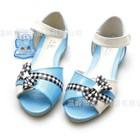 รองเท้าคุณหนูโบว์ลายสก๊อตดำ-สีฟ้า-(5คู่/แพ็ค)