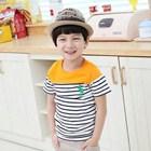 เสื้อแขนสั้น-POLO-ลายขวาง-สีส้ม-(5ตัว/pack)