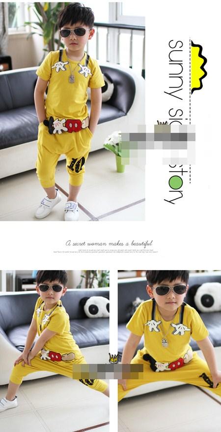 ชุดเสื้อกางเกงมิกกี้โอบกอด สีเหลือง (5 ตัว/pack)