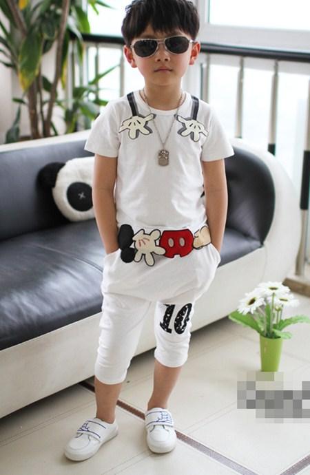 ชุดเสื้อกางเกงมิกกี้โอบกอด สีขาว (5 ตัว/pack)