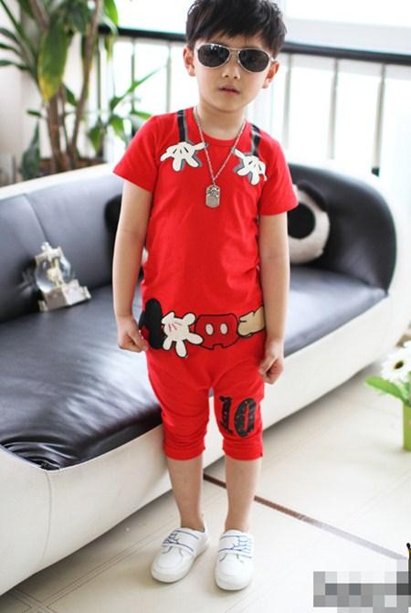 ชุดเสื้อกางเกงมิกกี้โอบกอด สีแดง (5 ตัว/pack)