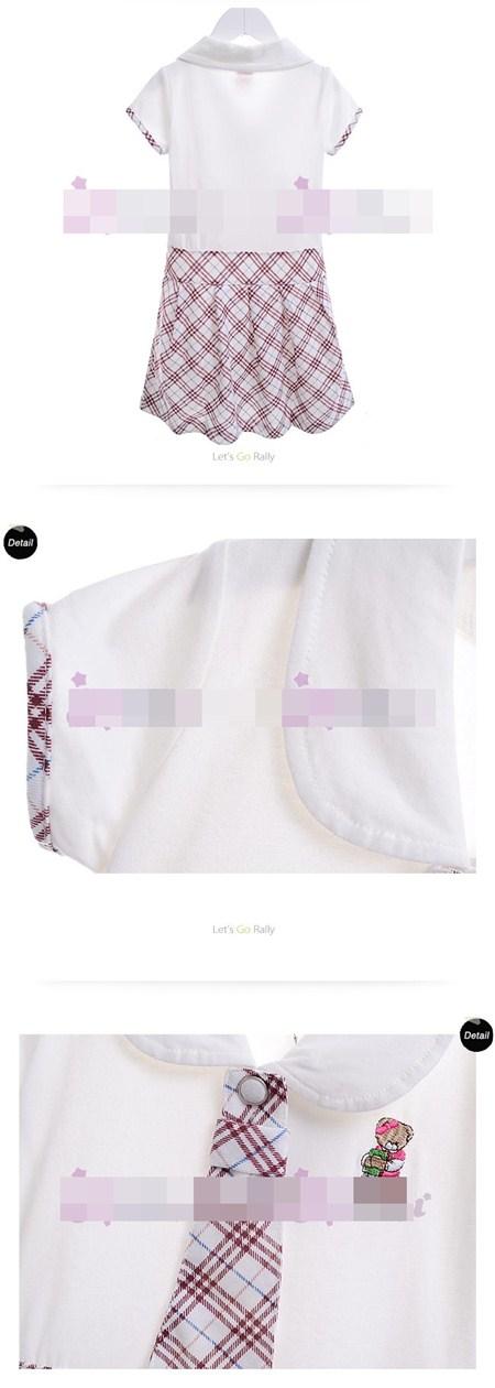 ชุดเดรสนักเรียนอินเตอร์ลายสก๊อต สีขาว (5 ตัว/pack)