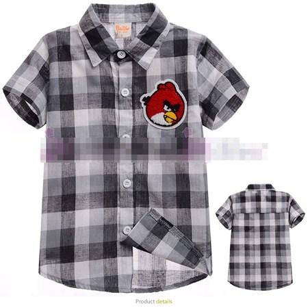 เสื้อเชิ้ตหมากรุกหล่อๆ Angry Birds สีดำ(5ตัว/pack)