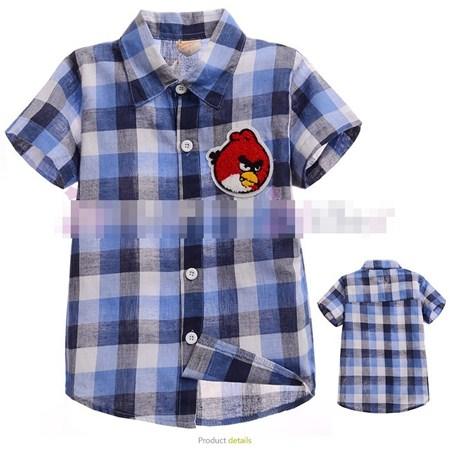 เสื้อเชิ้ตหมากรุกหล่อ Angry Birds สีฟ้า(5ตัว/pack)