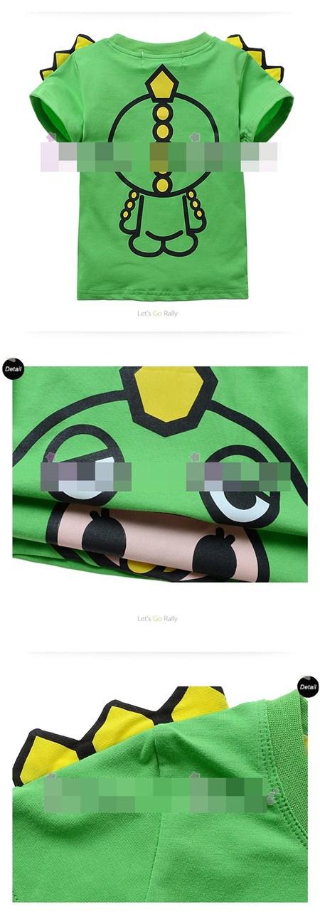 เสื้อแขนสั้นไดโนเสาร์เบบี้ สีเขียว (6ตัว/pack)