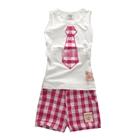 ชุดเสื้อกางเกงเนคไท-สีชมพู-(5-ตัว/pack)