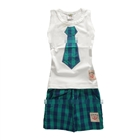ชุดเสื้อกางเกงเนคไท-สีเขียว-(5-ตัว/pack)