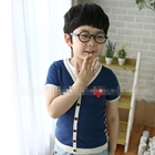 เสื้อแขนสั้น-PLAY-Comme-หนวด-สีน้ำเงิน-(5ตัว/pack)