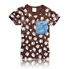เสื้อแขนสั้นตามลอยน้องหมา-สีน้ำตาล-(5ตัว/pack)