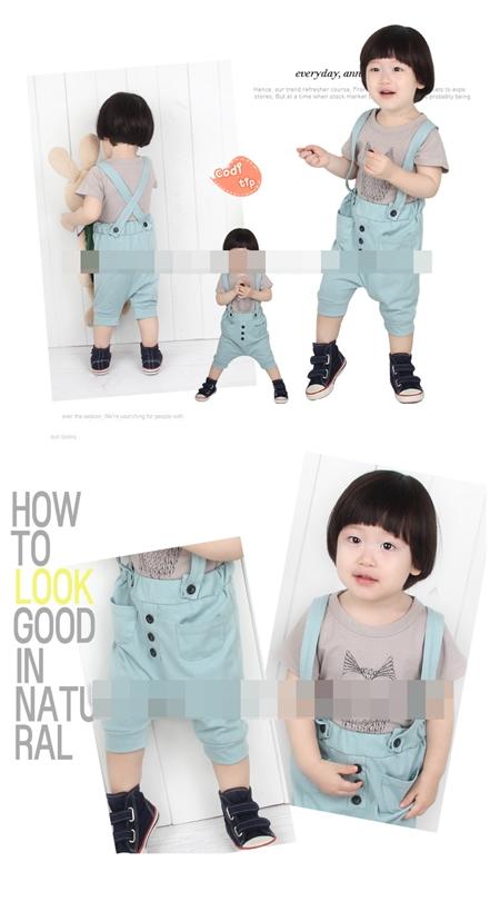 ชุดเสื้อกางเกงเอี๊ยมนกฮูก สีเทาฟ้า (5 ตัว/pack)