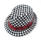 หมวกสไตล์แจ๊สลายตารางขาวดำ-(10-ใบ/แพ็ค)