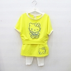 ชุดเสื้อกางเกงคิตตี้คัพเค้ก-สีเหลือง-(4-ตัว/pack)