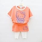 ชุดเสื้อกางเกงคิตตี้คัพเค้ก-สีส้ม-(4-ตัว/pack)
