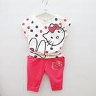 ชุดเสื้อกางเกงคิตตี้กับกระต่าย-สีแดง-(4-ตัว/pack)