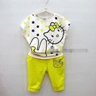 ชุดเสื้อกางเกงคิตตี้กับกระต่าย-สีเหลือง(4ตัว/pack)