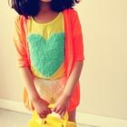 คาร์ดิแกนแขนสามส่วนหัวใจเล็ก-สีส้ม(5-ตัว/pack)