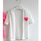 คาร์ดิแกนแขนสามส่วนหัวใจเล็ก-สีขาว-(5-ตัว/pack)
