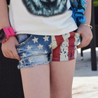 กางเกงยีนส์ขาสั้นธงชาติอเมริกา-(5ตัว/pack)