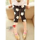 กางเกงเลกกิ้งสามส่วนสีดำดอกไม้ขาว-(5-ตัว-/pack)