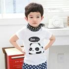 เสื้อแขนสั้น-Panda-Sleep-สีขาว-(5size/pack)