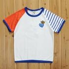 เสื้อแขนสั้นหัวใจมงกุฏ-แขนส้ม-(5size/pack)
