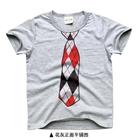 เสื้อยืดแขนสั้นเนคไทวินเทอร์-สีเทา-(5size/pack)