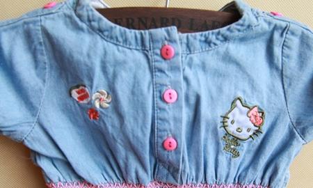 เดรสยีนส์แขนสั้นแมวเหมียวคิตตี้ สีฟ้า (5 ตัว/pack)