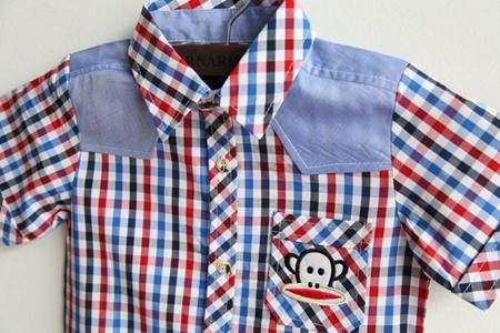 เสื้อเชิ๊ตยีนส์ตาราง Paul Frank สีแดง (5ตัว/pack)