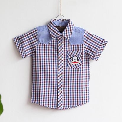 เสื้อเชิ๊ตยีนส์ตาราง Paul Frank สีกรม (5ตัว/pack)