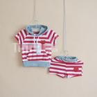 ชุดเสื้อกางเกง-Play-Jogging-สีขาวแดง-(5ตัว/pack)