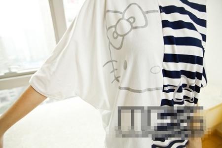 เสื้อแขนสั้น Hello Kitty ลูกครึ่ง สีดำ (5ตัว/pack)