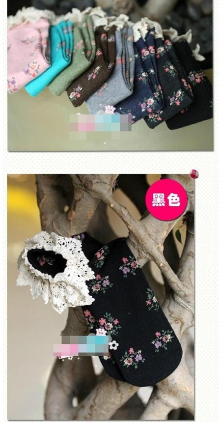 ถุงเท้าเด็กแบบยาวลายดอกไม้ คละสี (20 คู่ /pack)