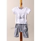 ชุดเสื้อกางเกงแมวตากลม-สีเทา--(5ตัว/pack)