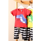 ชุดเสื้อกางเกง-Dino-Summer-สีแดง-(5ตัว/pack)