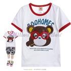 เสื้อยืดแขนสั้นหมีน้อยสวมแว่นตาสีขาว--(5size/pack)