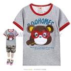 เสื้อยืดแขนสั้นหมีน้อยสวมแว่นตาสีเทา--(5size/pack)