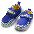 รองเท้าเด็กลายตาราง-สีฟ้า-(6-คู่/แพ็ค)