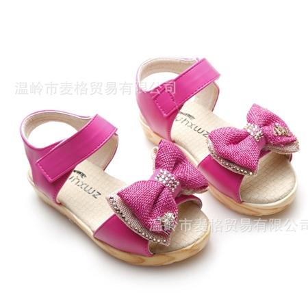 รองเท้าเด็กโบว์สองชั้น สีชมพูโรส (5 คู่/แพ็ค)