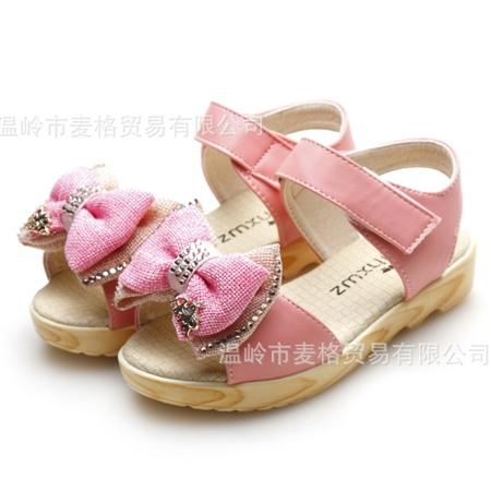 รองเท้าเด็กโบว์สองชั้น สีชมพู (5 คู่/แพ็ค)