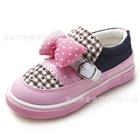 รองเท้าเด็กผ้าใบเด็กโบว์จุด-สีชมพู-(6-คู่/แพ็ค)