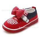 รองเท้าเด็กผ้าใบเด็กโบว์จุด-สีแดง-(6-คู่/แพ็ค)