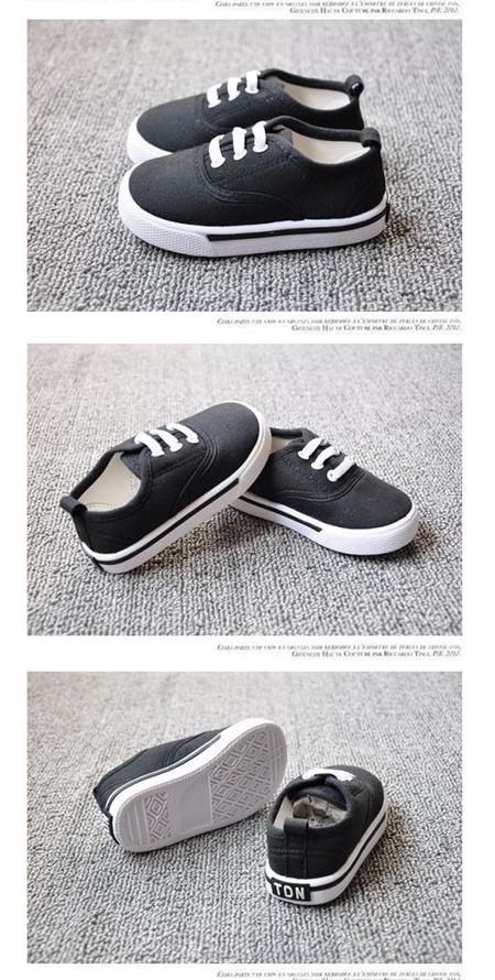 รองเท้าผ้าใบเด็กเชือกร้อย สีดำ (8 คู่/แพ็ค)