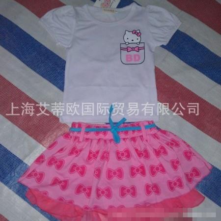ชุดเสื้อและกระโปรง KIMOCAT สีขาวชมพู (5 ตัว/pack)